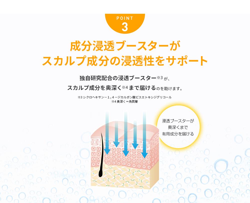 POINT3 浸透ブースターが育毛成分の浸透性をサポート